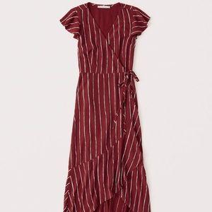 Abercrombie Wrap Midi Dress Dark Red Stripe